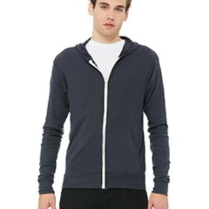 BELLA + CANVAS- 3939 Unisex Triblend Full-Zip Lightweight Hoodie Thumbnail